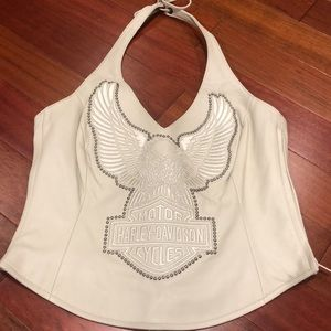 Ladies Harley-Davidson cream leather halter vest